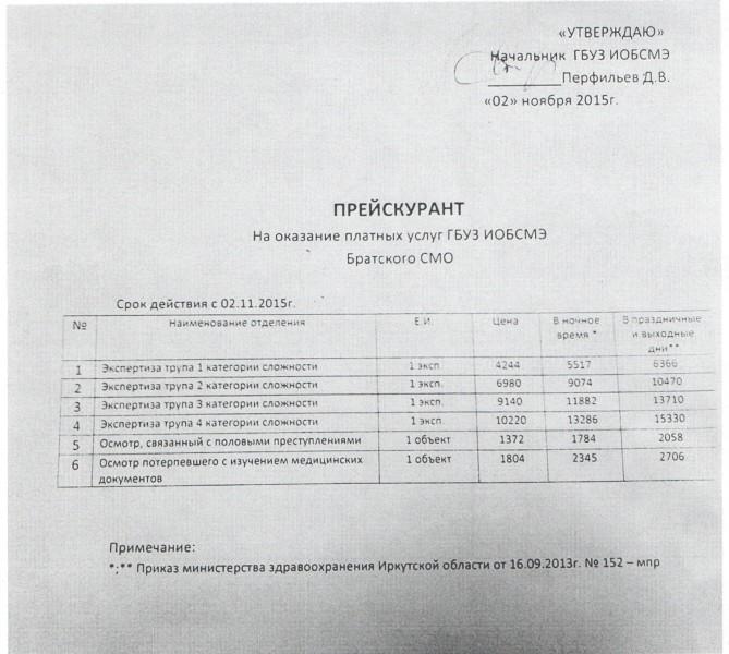 ПРЕЙСКУРАНТ МОРГА